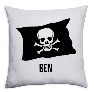 Personalised Pirate flag crossbones Sequin reveal childrens cushion