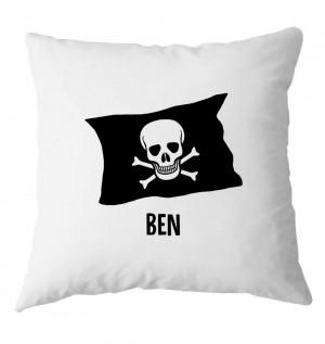 Personalised Pirates, crossbones flag childrens cushion