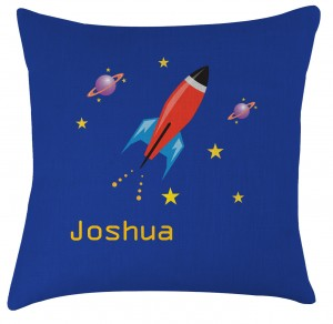 Personalised Rocket childrens cushion