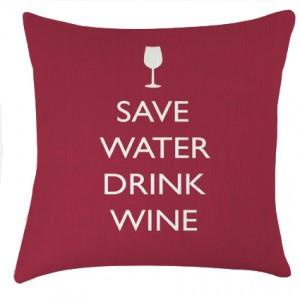 Save Water drink Wine cushion