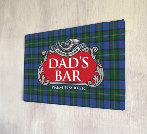 Dad's Bar Tartan Red Beer Label Sign