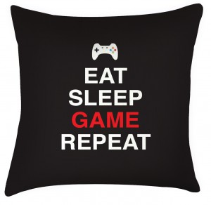 Eat Sleep Game repeat cushion