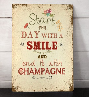 Vintage Champagne quote retro sign