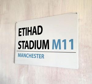 Etihad Stadium Manchester Street Sign
