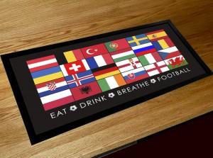 Euro 2016 football flag Bar pub runner counter mat