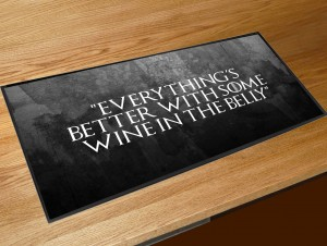 Wine in the belly quote bar runner
