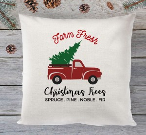 Farm fresh christmas trees cushion
