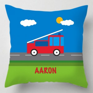 Childrens personalised fire truck cushion