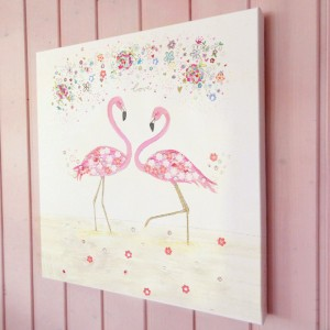 flamingo love illustration canvas print