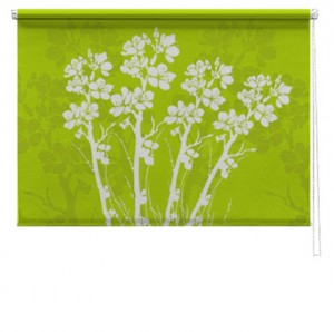 Green bouquet flowers printed roller blind