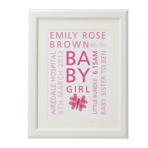 Personalised new baby words christening print poster