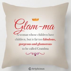 Glam-ma quote cushion