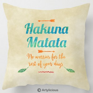 Hakuna Matata lion king quote cushion