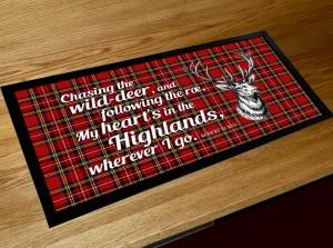 My Heart's in the Highlands Burns poem bar runner mat