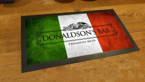 Personalised Italian flag grunge bar runner mat