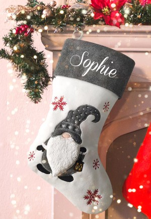 Personalised Christmas Deluxe Stocking, Gnome, gonk