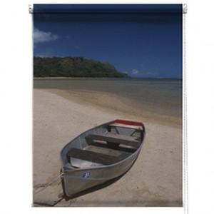 Boat on a beach printed blind