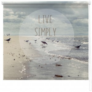 'Live Simply' quote printed blind