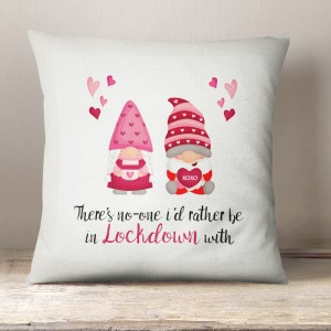 Valentine Gnomes in Lockdown linen cushion
