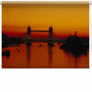London bridge sunset printed blind
