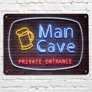 Man Cave neon brick wall metal sign
