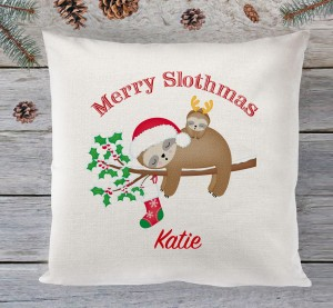 Slothmas christmas personalised cushion