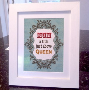 Mum queen quote canvas / art print