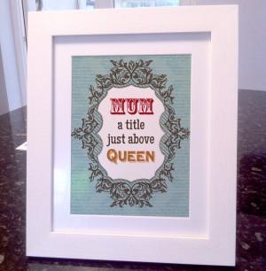 Mum queen quote canvas / art print