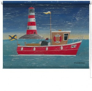 Boat at Sea printed blind martin wiscombe