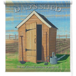 Dads Shed printed blind martin wiscombe