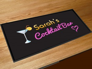 Personalised black with Neon Cocktail Glass bar runner