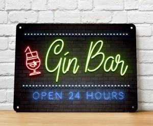The Gin bar neon brick wall metal sign