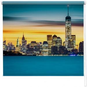 New York blue sunset printed blind
