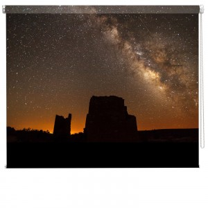 Orange night starry sky printed blind