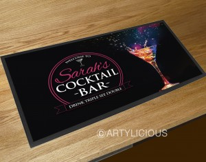 Personalised Welcome Cocktail glass explosion bar runner