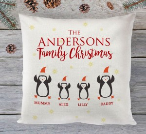 Personalised Family Christmas (penguins) cushion