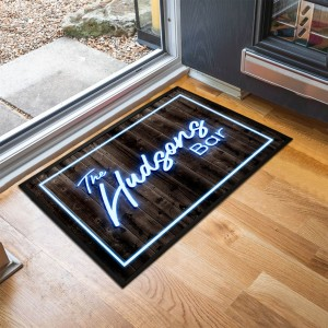 Personalised Neon writing Bar Door Mat
