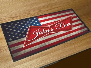 Personalised American flag beer label bar runner mat