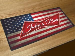 Personalised American flag beer label bar runner mat