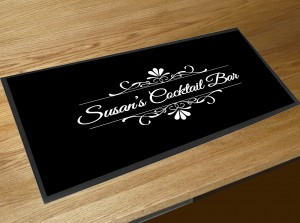Personalised black flourish Cocktail bar runner mat