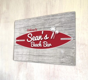 Personalised Beach bar wood effect sign
