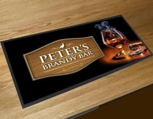 Personalised Brandy glass bar runner mat
