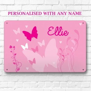 Personalised pink butterfly metal door wall sign