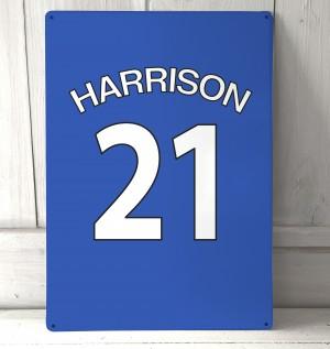 Personalised Blue football shirt Sign