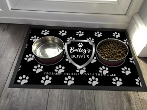 Personalised Dog feeding mat, chrome shield