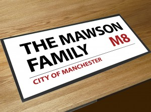 Personalised London street sign bar runner mat
