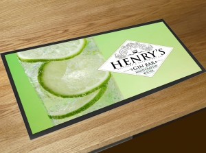 Personalised Gin Glass Bar runner bar mat