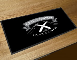 Personalised Barbers shop razors black bar runner mat
