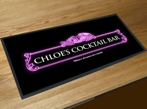 Personalised Cocktail pink label bar runner