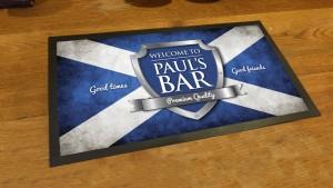 Personalised Scottish flag chrome shield bar runner